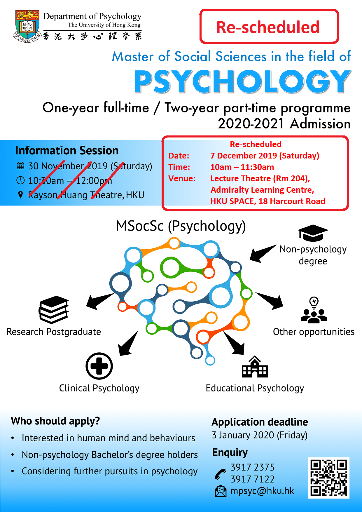 Programme Leaflet, Master of Social Sciences in the field of Psychology
